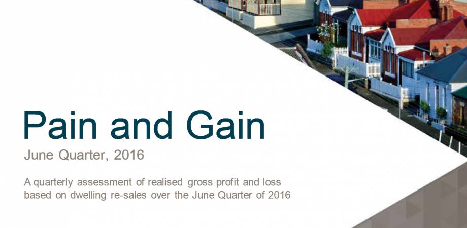 CoreLogic Pain and Gain Report - June Quarter 2016